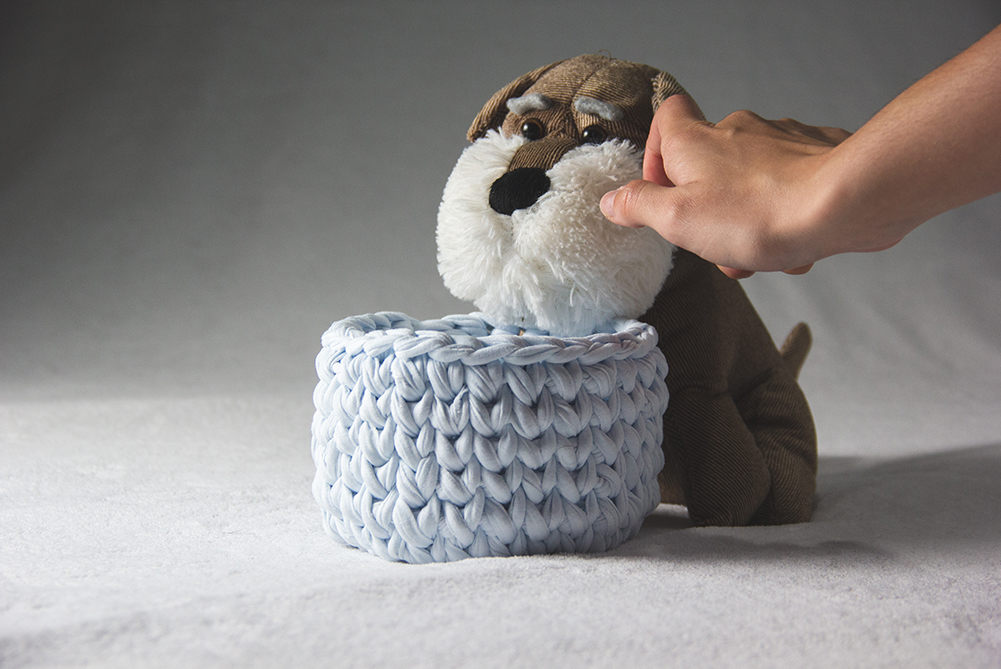 Product Photography of Blue Basket and Soft Toy