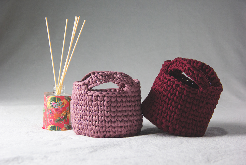 Product Photography of Pink and Burgundy Baskets